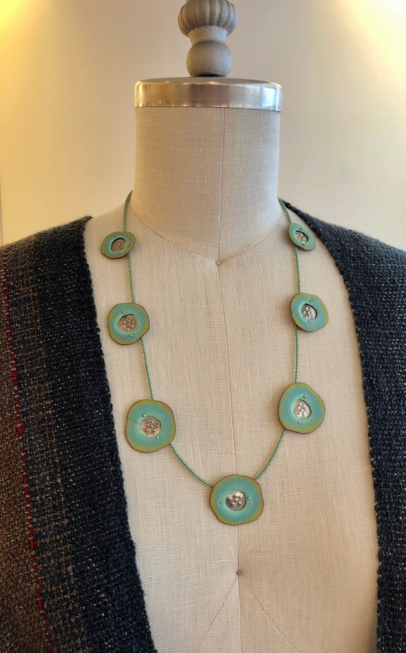 Lauren Pollaro Turquoise Disc Necklace