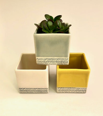 Elizabeth Benotti - Medium Square Herringbone Planter