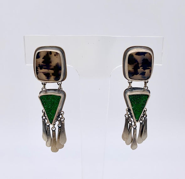 Filomena Demarco Uvarovite Garnet/Montana Agate Earrings