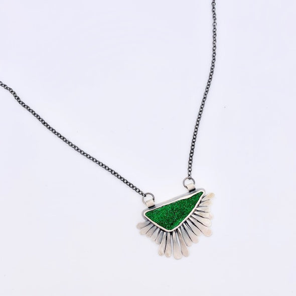 Filomena Demarco Uvarovite Garnet Feather Necklace