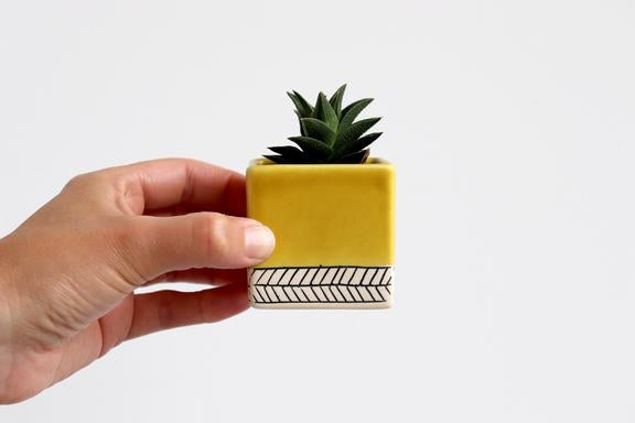 Elizabeth Benotti - Small Square Herringbone Planter