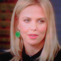 Charlize Theron in Meredith Marks Karri Earrings