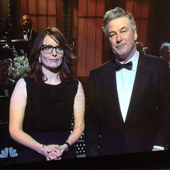 Tina Fey in Meredith Marks Raquel Earrings and Hollie Bangle