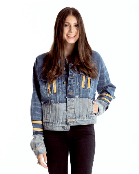 Two-Tone Denim Jacket with Jersey Stripes Collegiate