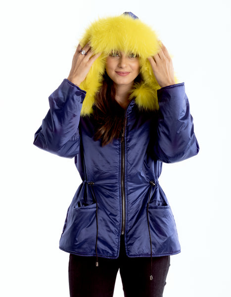 Blue Drawstring Jacket with Yellow Fur Trim Collegiate