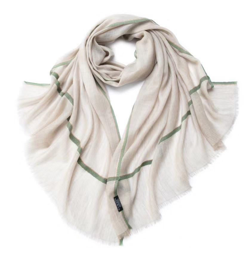 Camille Cashmere Shawl Tan and Olive
