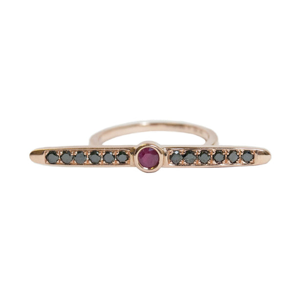 Sliver Ring Rose Gold Black Diamond Ruby