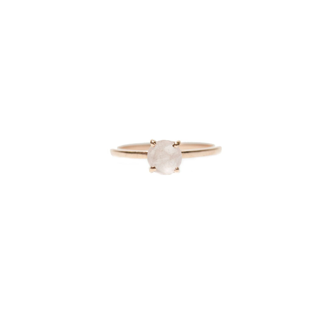 Gemma Ring 6mm Rose Gold Rose Quartz