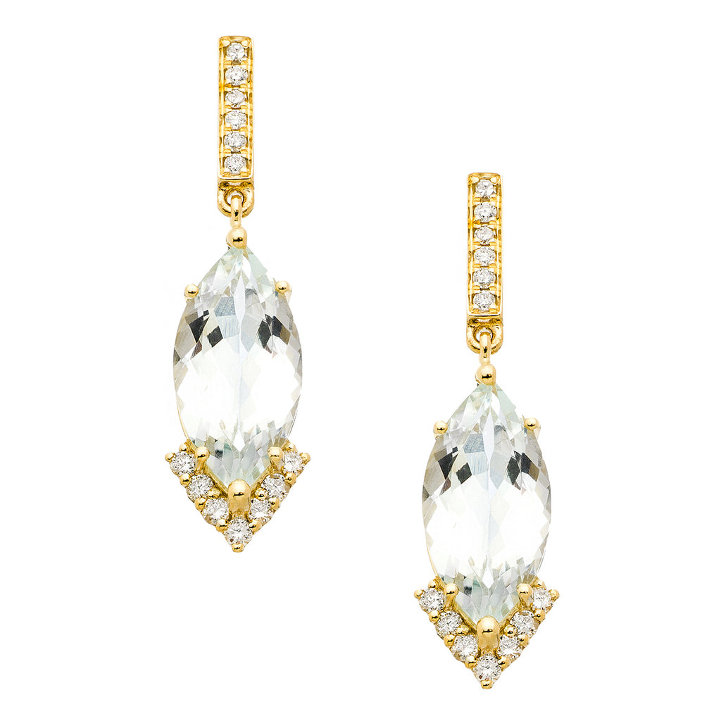 Amelia Earrings Yellow Gold Aquamarine