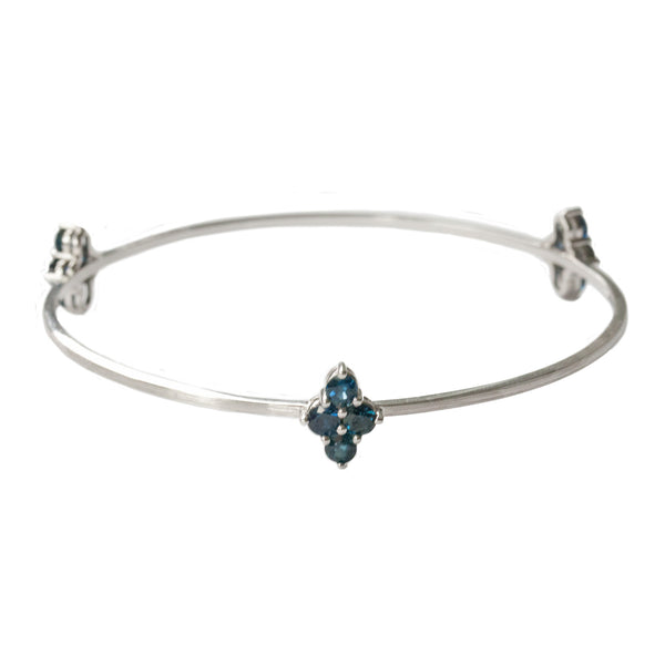 Asher 3-Charm Bangle White Gold  Sapphire