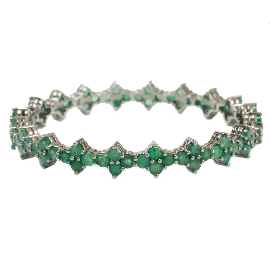 Asher Bangle Silver Emerald