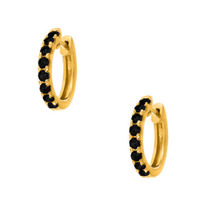 Lillian Huggies Double Sided Yellow Gold with White and Black Diamonds 2mm