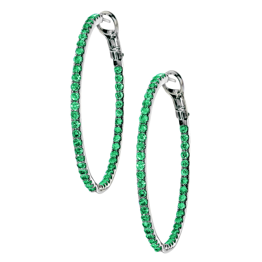 Mary Hoops Silver Emerald 2mm