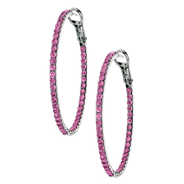 Mary Hoops 2mm Silver Pink Sapphire