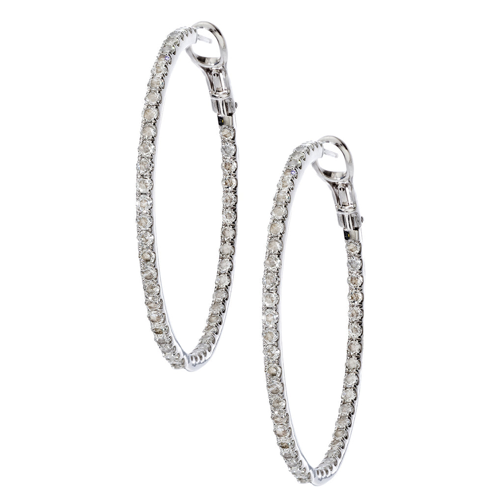 Mary Hoops 2mm White Gold RoseCut Diamond