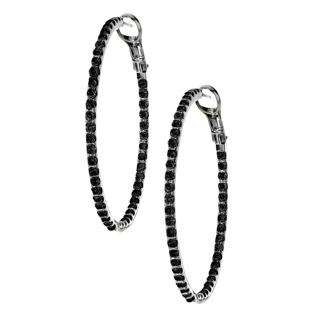 Mary Hoops Silver Black Diamond 2mm