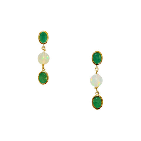 Natalie Earrings Gold Opal Emerald