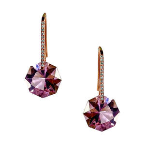 Reid Earrings Rose Gold Dark Purple Amethyst Octagon on Post