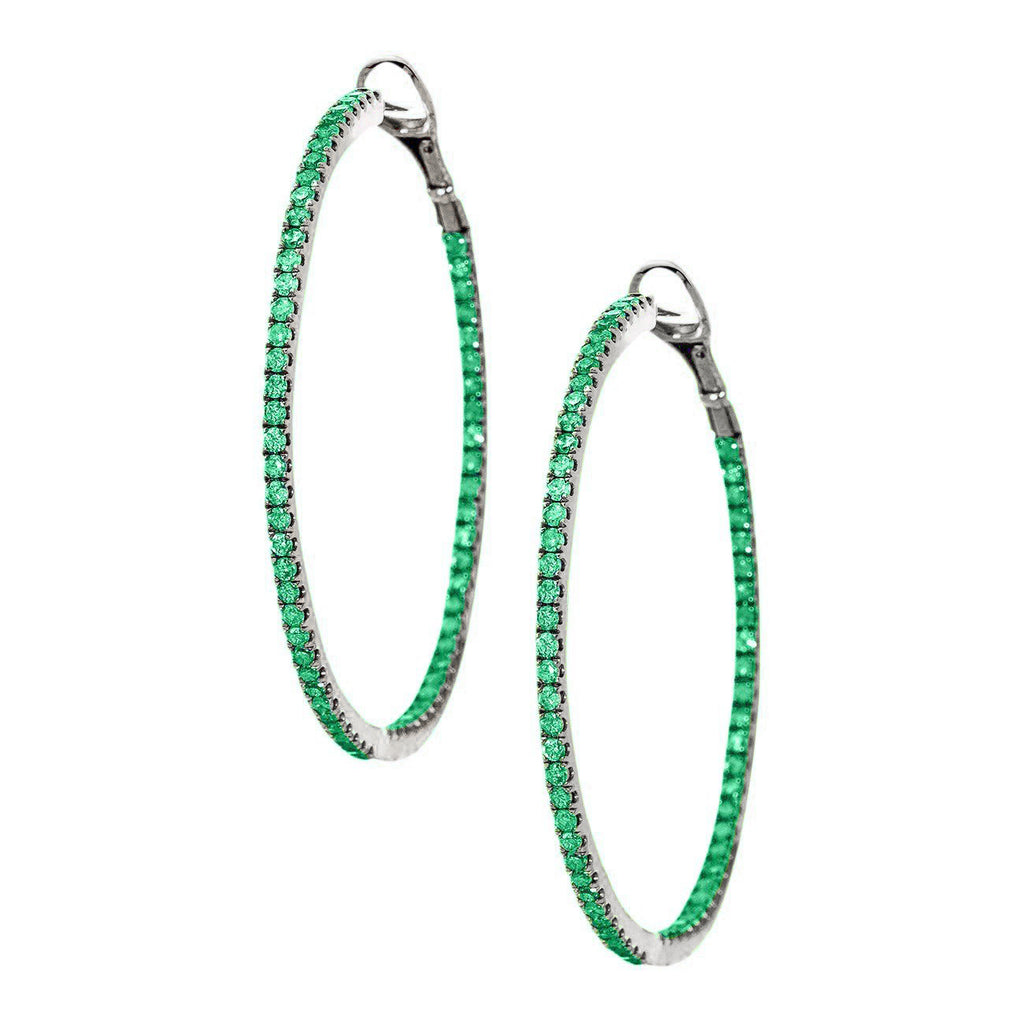 Mary Hoops Silver Emerald 1.5mm