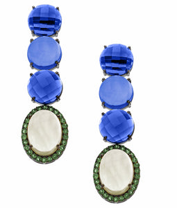 Kay Earrings Kyanite, Moonstone and Emerald