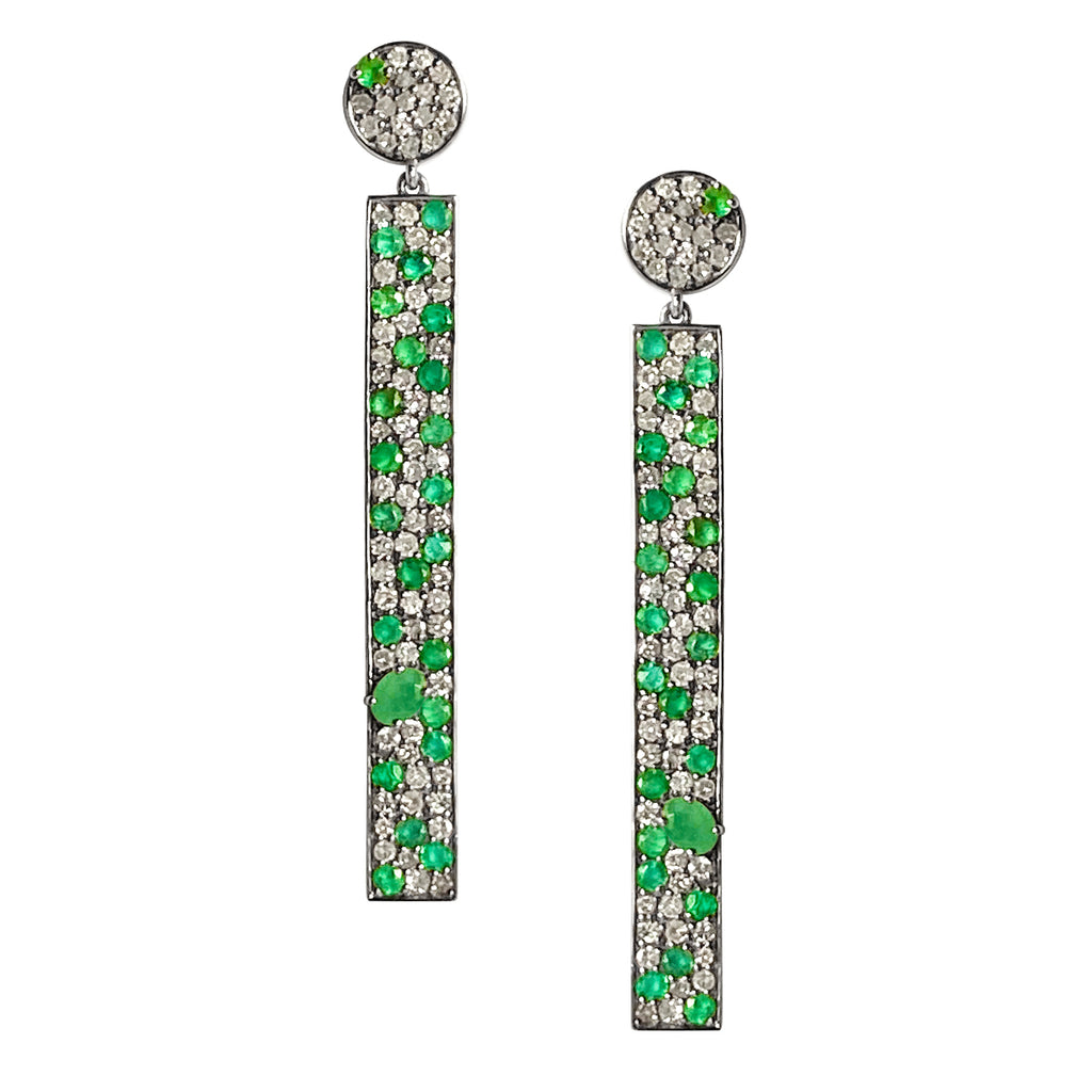Stardust Earrings Emerald and Diamond