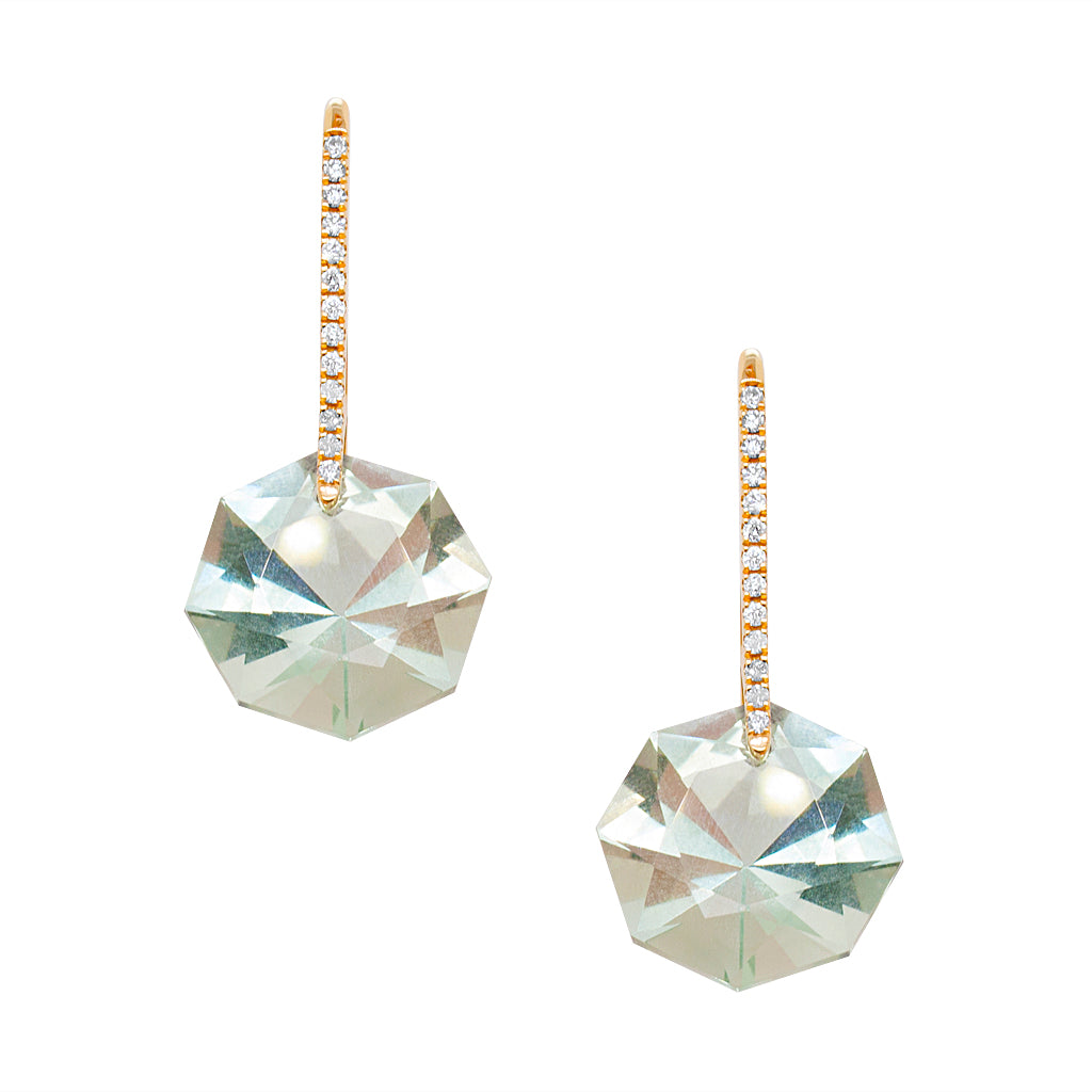 Reid Earrings Yellow Gold Green Amethyst Octagon