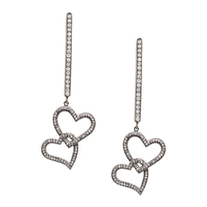 Mia Long Heart Drops Silver
