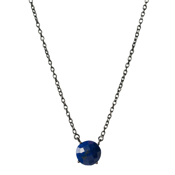 Gemma Necklace 12mm Silver Lapis