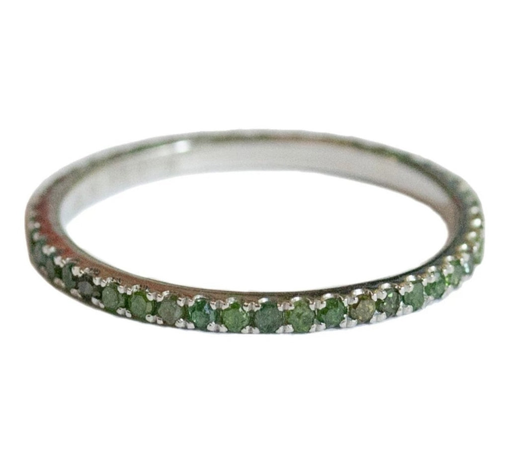 Josephine 1mm Band White Gold Green Diamonds