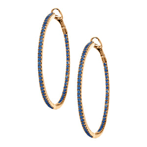 Mary Hoops Rose Gold Blue Diamond 1.5mm