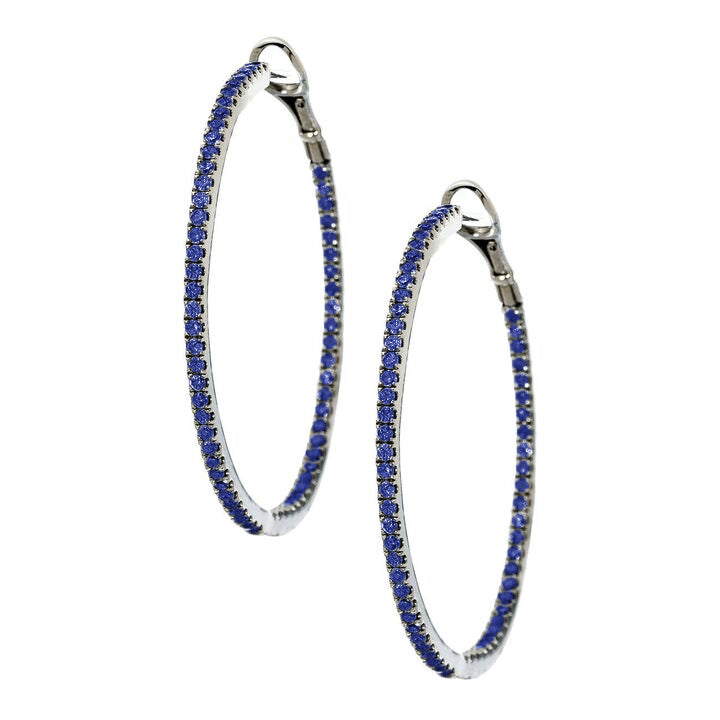 Mary Hoops Silver Sapphire 1.5mm