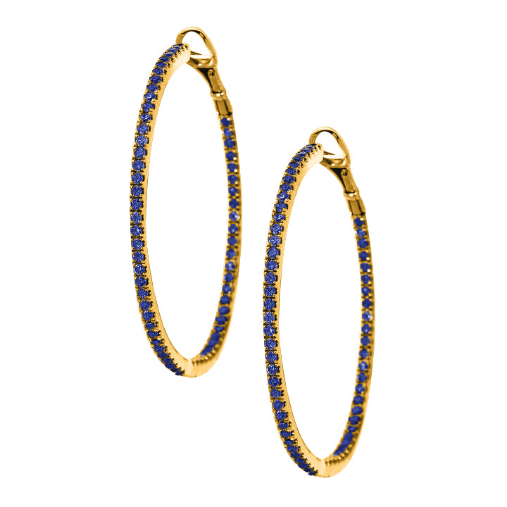 Mary Hoops Yellow Gold Sapphire 1.5mm