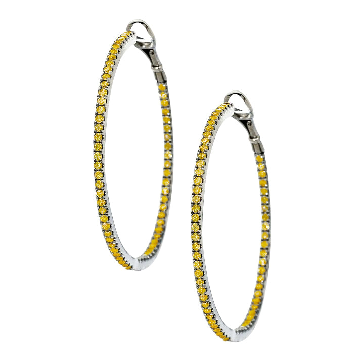 Mary Hoops Silver Yellow Sapphire 1.5mm
