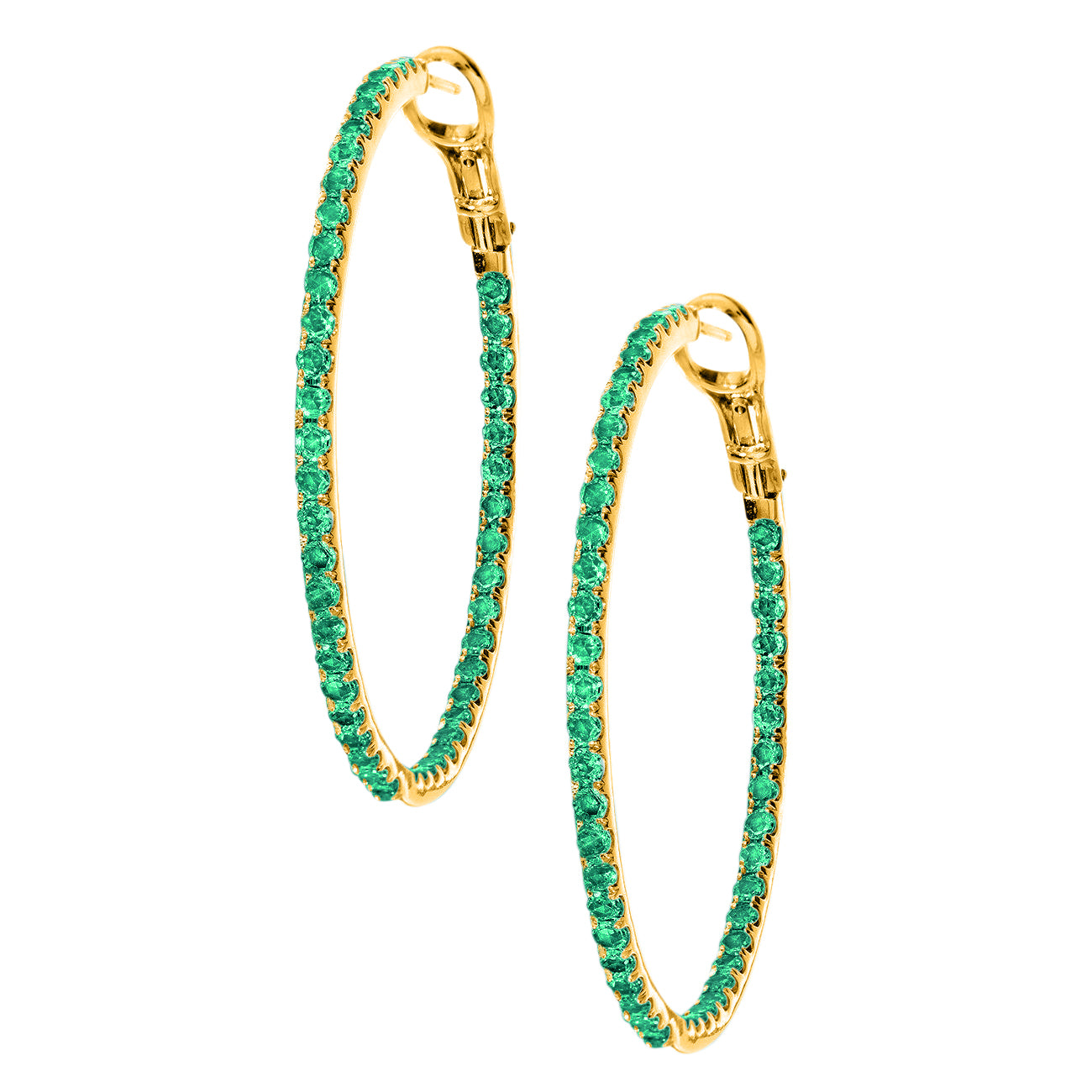 Mary Hoops Yellow Gold Emerald 2mm