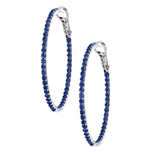 Mary Hoops Silver Blue Sapphire 2mm