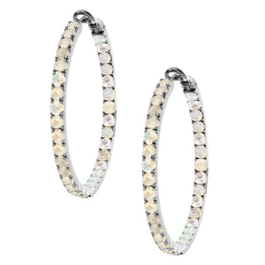 Mary Hoops Silver Moonstone 3.5mm