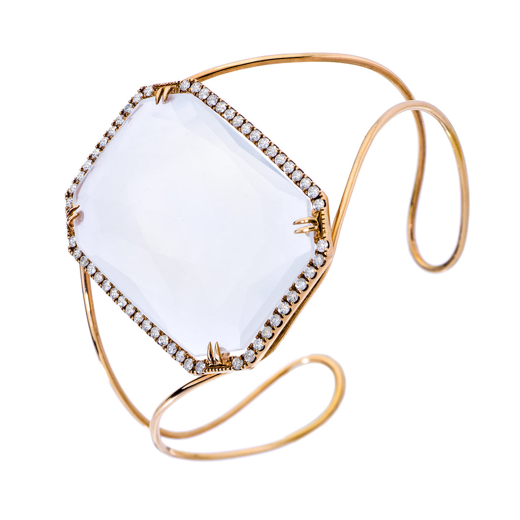 Tina Cuff Rose Gold White Quartz