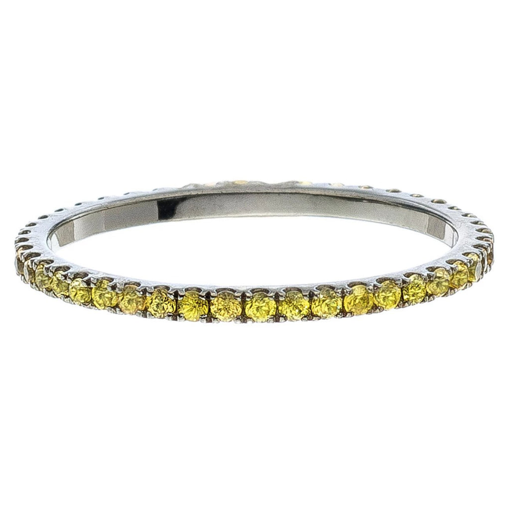 Josephine 1mm Band Silver Yellow Sapphire