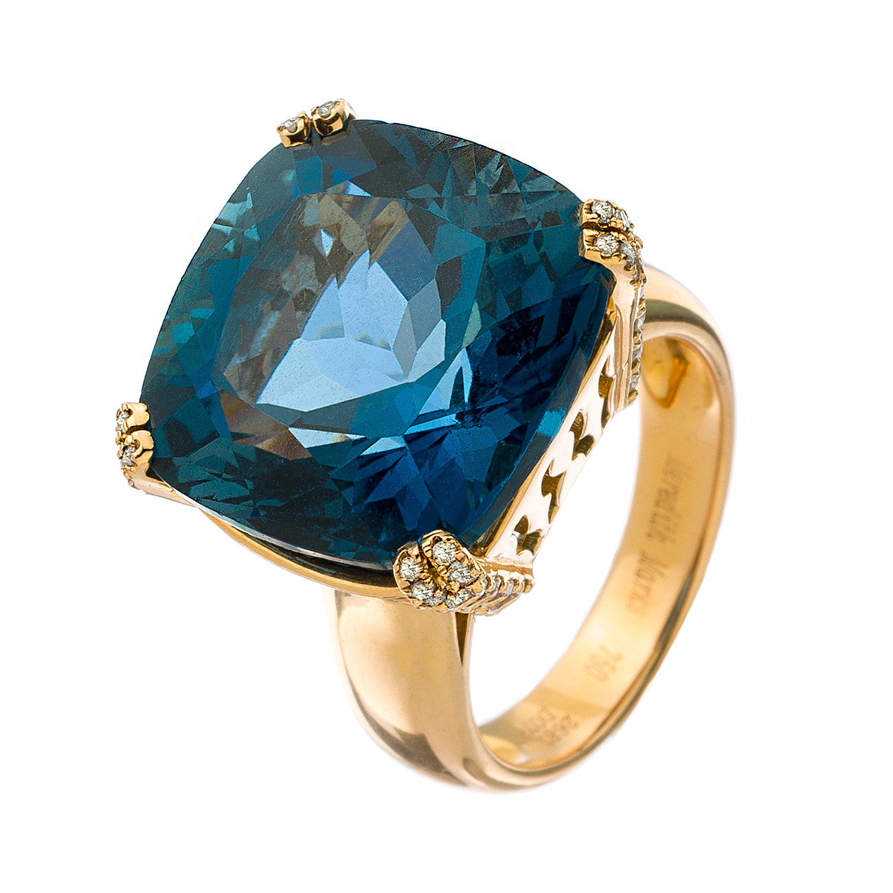 Reid Ring Rose Gold London Blue Topaz