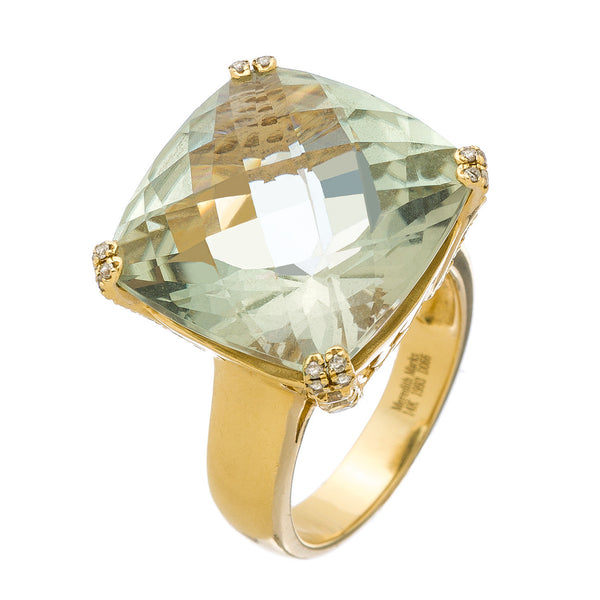 Reid Ring Yellow Gold Green Amethyst