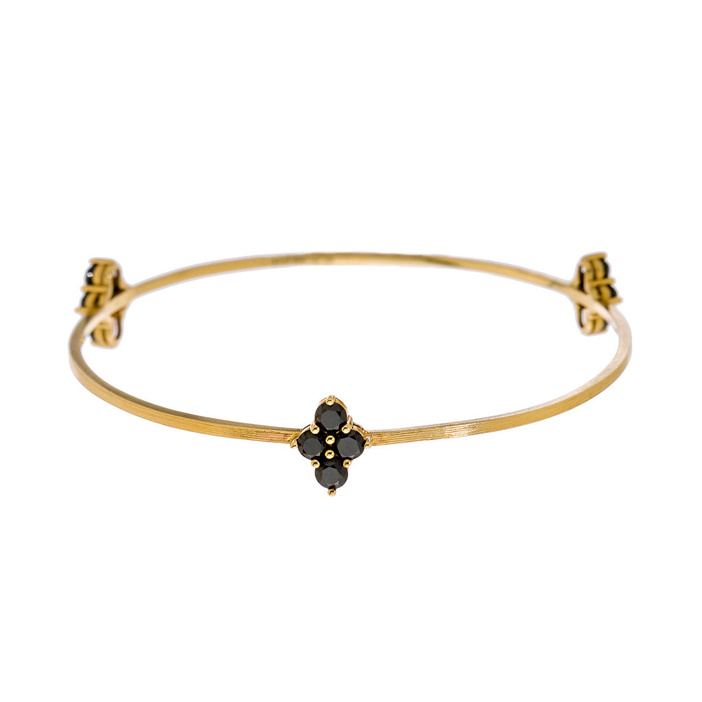 Asher 3-Charm Bangle Yellow Gold Black Diamond