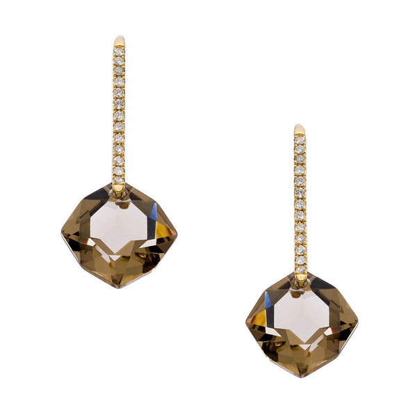 Reid Mini Earrings Yellow Gold Smokey Quartz