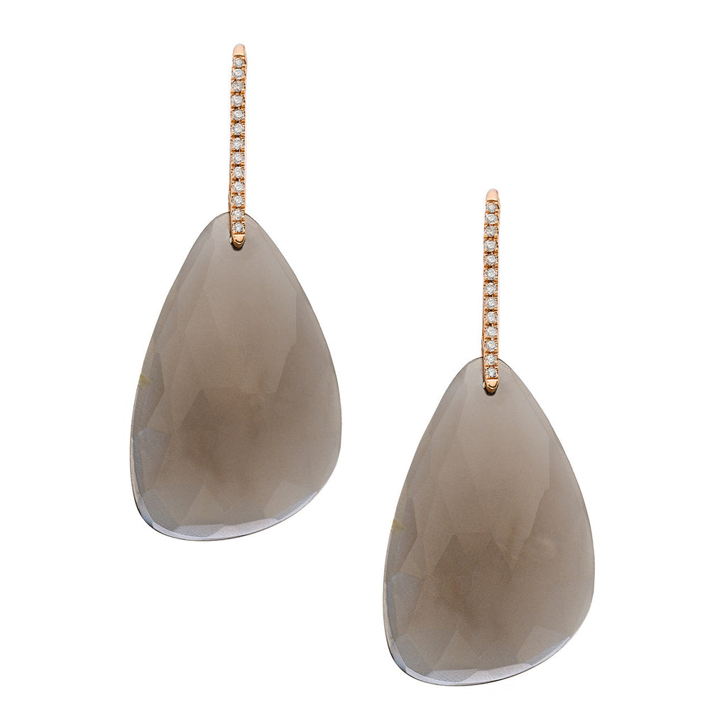 Izzy Earrings Rose Gold Grey Moonstone