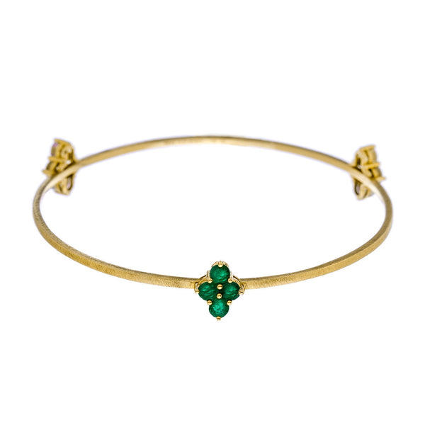 Asher 3-Charm Bangle Yellow Gold  Emerald