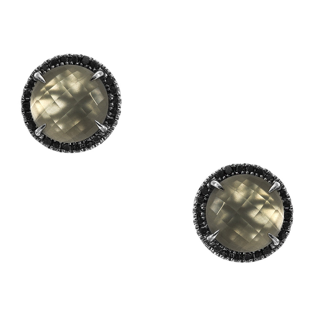 Jacklyn Studs Silver Grey Moonstone Black Diamond