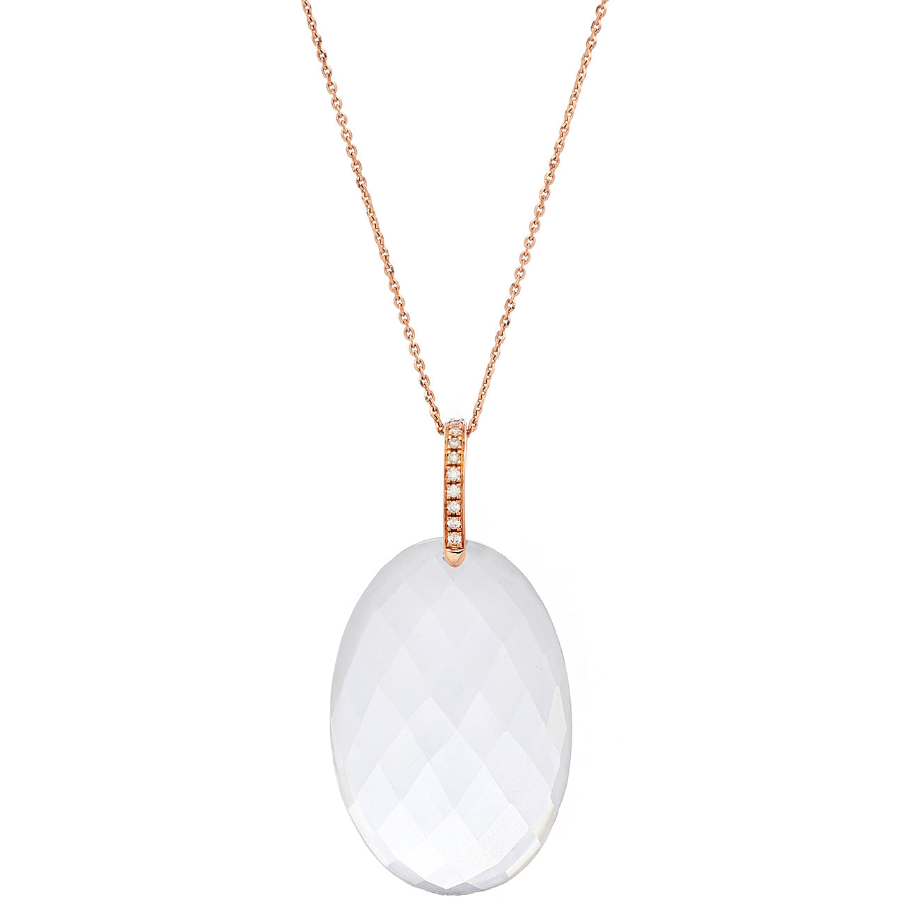 Natalia Necklace Moonstone Rose Gold Oval