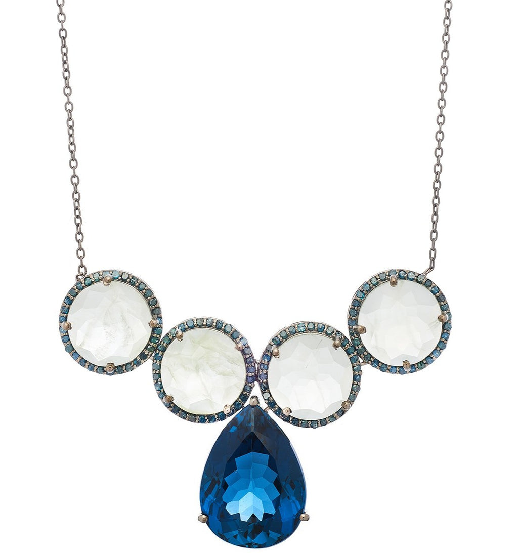 Glinda Necklace London Blue Topaz, Prehnite, and Blue Diamonds
