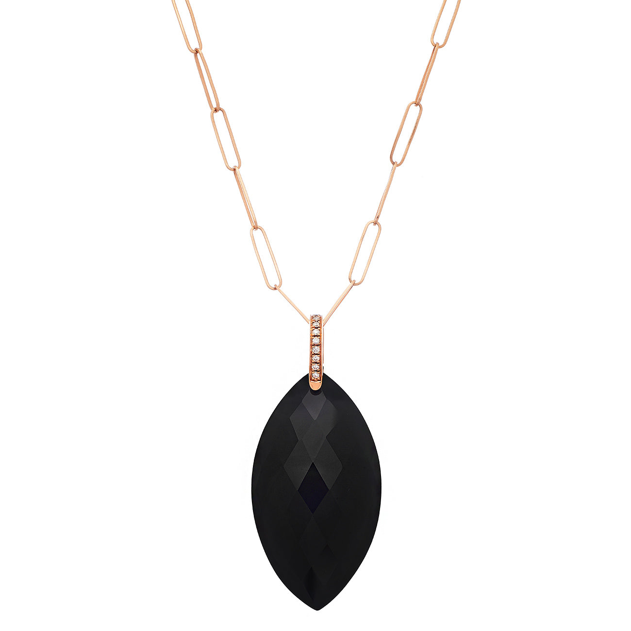 Natalia Necklace Rose Gold Black Onyx