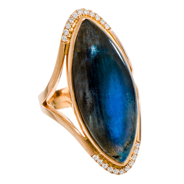 Annalise Ring Rose Gold Labradorite