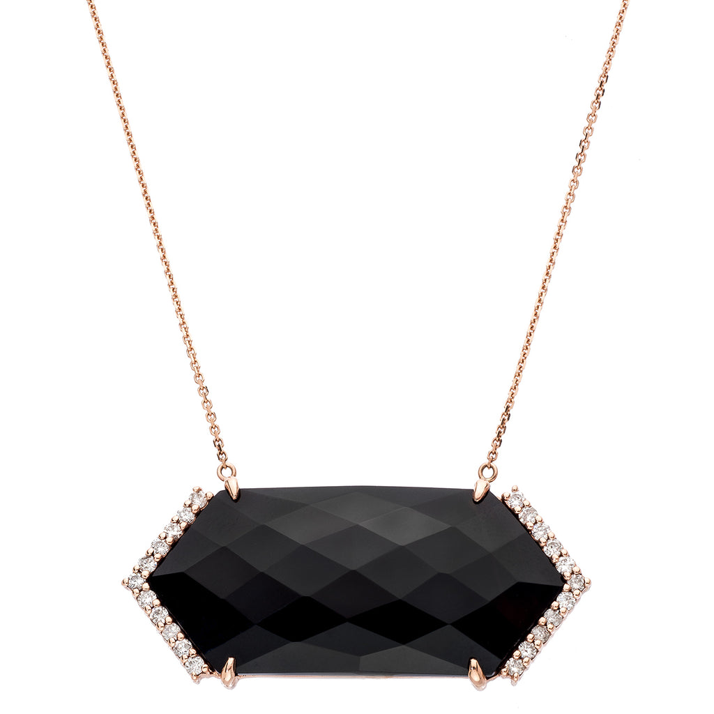 Hayden Necklace Rose Gold Black Onyx